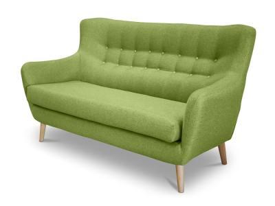 Sofá 2 plazas de diseño, respaldo con botones – Stockholm. Tela verde