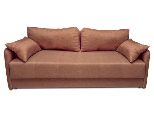 3 seater sofa bed with narrow armrests - Bruges. Brown fabric