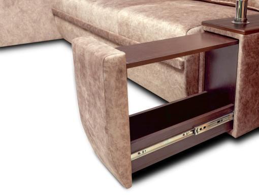 Botellero extraíble. Sofá chaise longue modelo Ostend. Chaise longue izquierda. Tela marrón