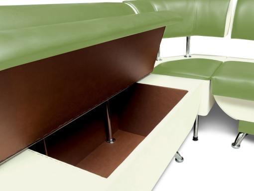 Cajón de almacenaje más grande. Banco de esquina con respaldo, 124 x 154 cm - Silvia. Verde y blanco