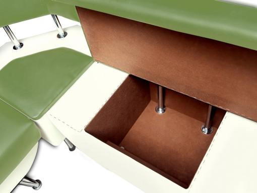 Cajón de almacenaje más pequeño. Banco de esquina con respaldo, 124 x 154 cm - Silvia. Verde y blanco