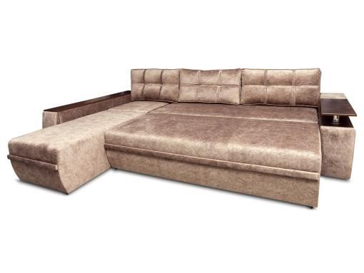 Modo cama. Sofá chaise longue modelo Ostend. Chaise longue izquierda. Tela marrón