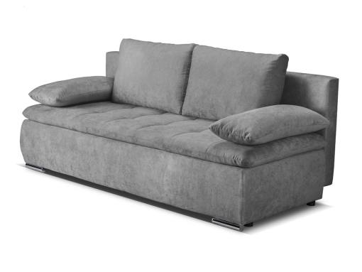 Sofá cama con cojines laterales (brazos) - Lorca. Tela gris