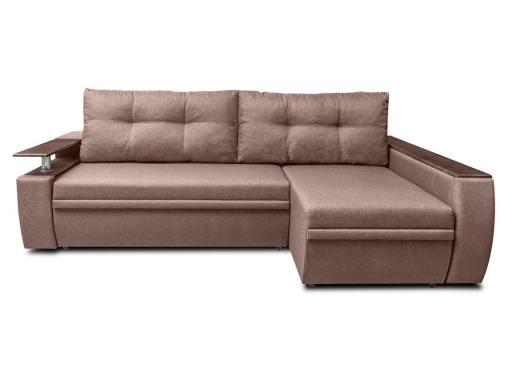 Sofá chaise longue cama 3 plazas con cajones de almacenamiento - Ostend 3. Tela marrón, chaise longue derecha