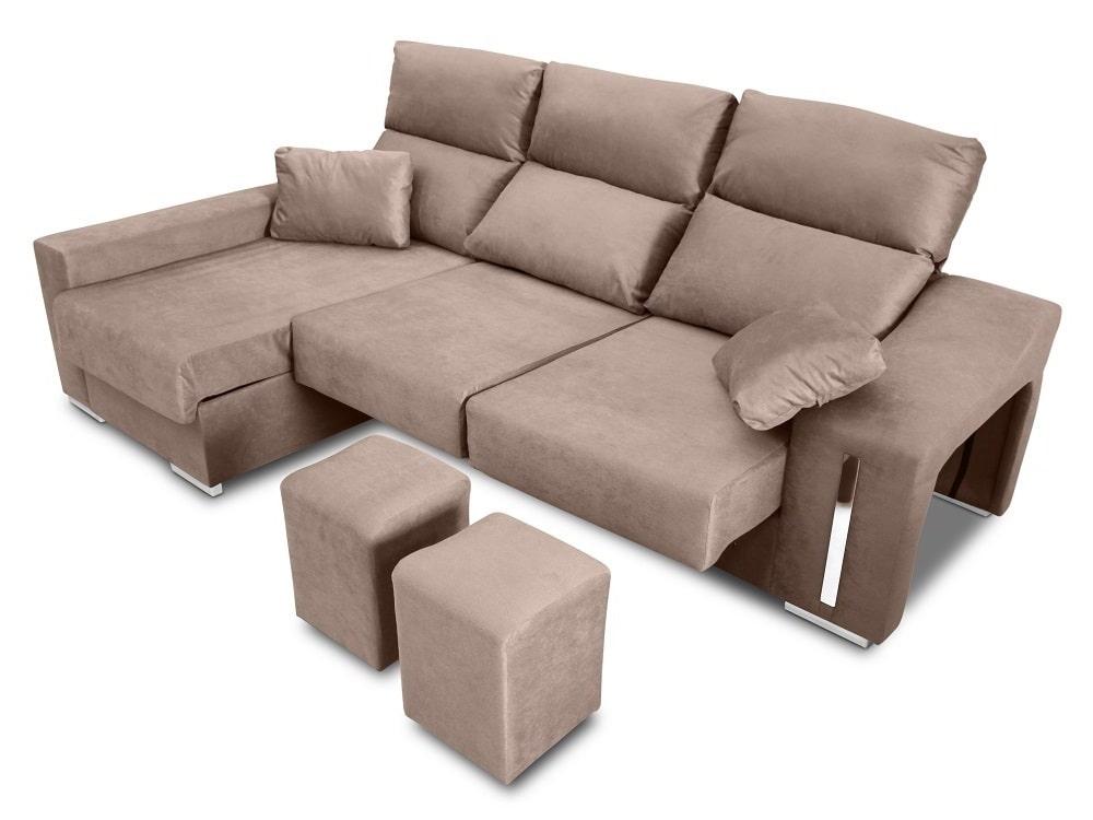 chaise longue sofa with sliding seats reclining headrests 2 pouffes storage nantes