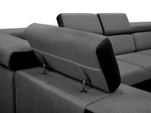 Mecanismo de reposacabezas. Sofá en forma de U, 6 plazas - Grenoble. Tela gris, polipiel negra