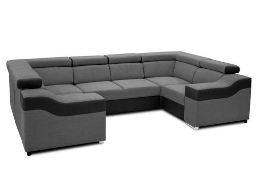 Modo reposacabezas bajados. Sofá en forma de U, 6 plazas - Grenoble. Tela gris, polipiel negra