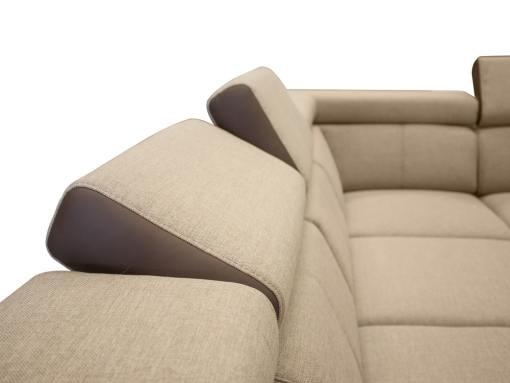 Reposacabezas reclinables. Sofá en forma de U, 6 plazas - Grenoble. Tela beige, polipiel marrón