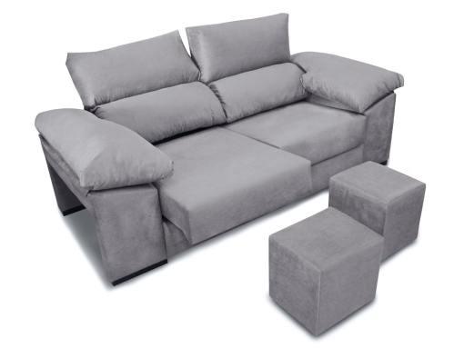 Sofá 3 plazas con asientos deslizantes, respaldos reclinables, 2 pufs - Toledo. Tela antimanchas gris claro