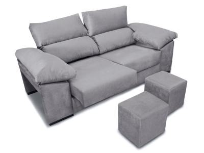 3 seater sofa with sliding seats, reclining backrests, 2 poufs - Toledo. Light grey fabric