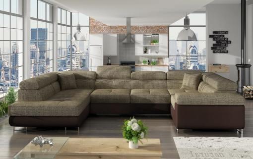Sofá en U moderno (2 chaiselongs) con cama y arcón - Coventry. Esquina lado derecho. Tela beige (Berlin 03) - Polipiel marrón (Soft 66)