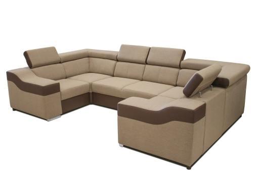 Sofá en forma de U, 6 plazas - Grenoble. Tela beige, polipiel marrón