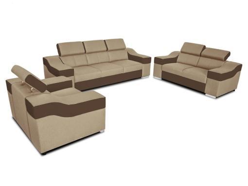 Conjunto 3+2+1 - sofá 3 plazas, 2 plazas, 1 sillón, reposacabezas reclinables - Grenoble. Tela beige, polipiel marrón