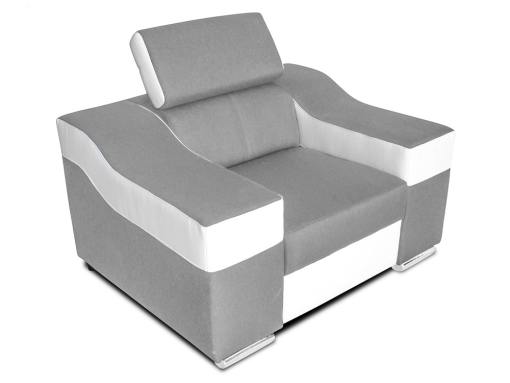Armchair with reclining headrest and wide armrests - Grenoble. Light grey fabric, white faux leather