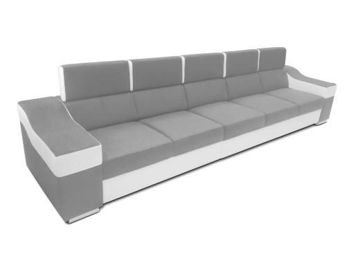 Sofá 5 plazas sin chaise longue, reposacabezas reclinables - Grenoble. Gris claro, blanco