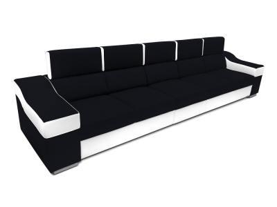 Sofá 5 plazas sin chaise longue, reposacabezas reclinables - Grenoble. Negro, blanco