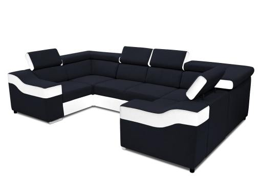 Sofá en forma de U, 6 plazas - Grenoble. Tela negra, polipiel blanca