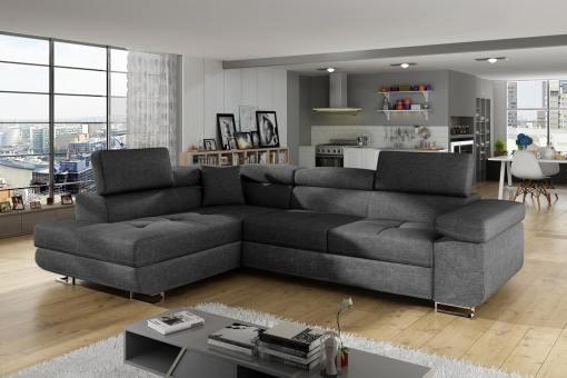 Sofá rinconera cama con arcón y reposacabezas reclinables - Manchester. Esquina lado izquierdo. Tela gris oscuro (Inari 96) todo