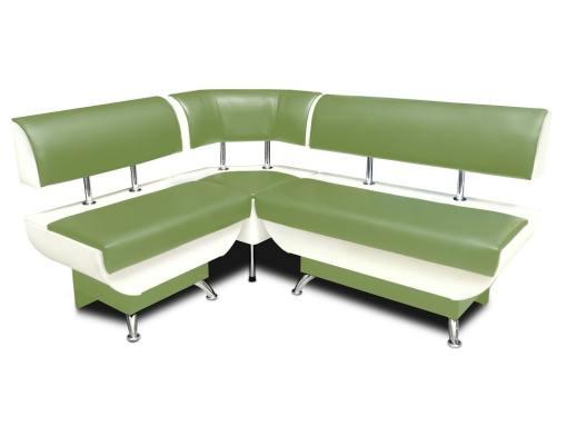 Banco de esquina con respaldo, cajones de almacenamiento, 124 x 154 cm - Silvia. Verde y blanco, parte corta a la izquierda