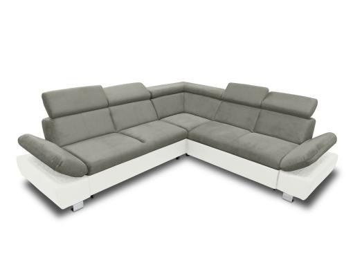 Sofá rinconera con cama, baúl extraíble (derecho) y reposabrazos reclinables - Reims. Gris con blanco