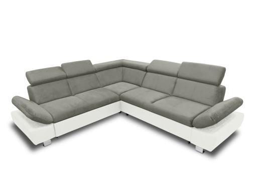 Sofá rinconera con cama, baúl extraíble (izquierdo) y reposabrazos reclinables - Reims. Gris con blanco