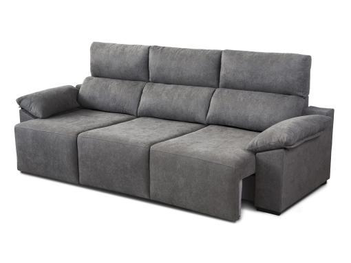 Asientos extendidos. Sofá 3 plazas con asientos deslizantes - Mazarron. Color gris
