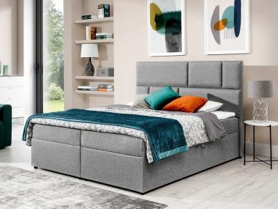 Двуспальная кровать в современном стиле 180 x 200 см - Emilia. Светло-серая ткань
