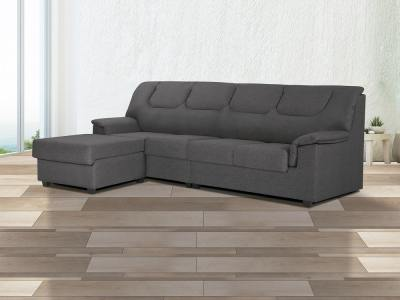 Chaise longue sofa with fixed seats and backrests - Halle. Grey, left