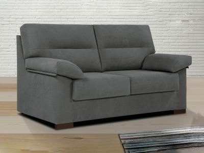 Inexpensive 3-Seater Sofa in Grey Fabric - Liege