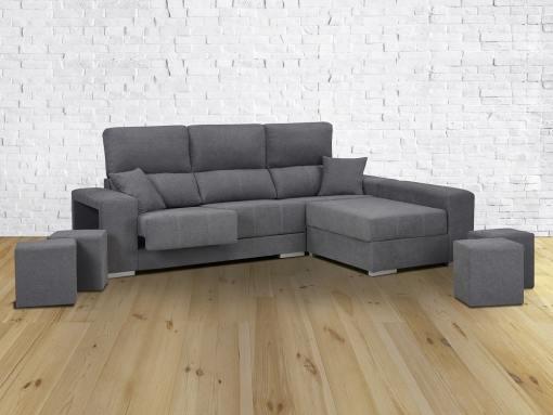 Sofá cheslón reversible, asientos extraíbles, respaldos reclinables, 4 taburetes - Dinant. Gris, derecha