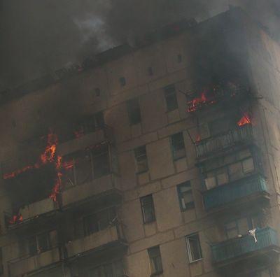 пожар в Енакиево, ул. Брайляна - девятиэтажка