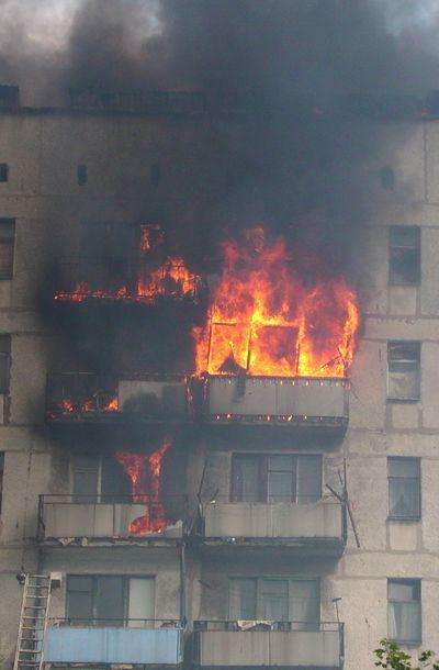 пожар в Енакиево, ул. Брайляна