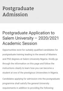 Salem University Postgraduate