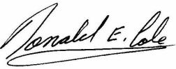 Signature-Donald E. Cole