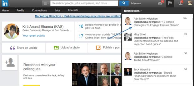 LinkedIn profile notifications