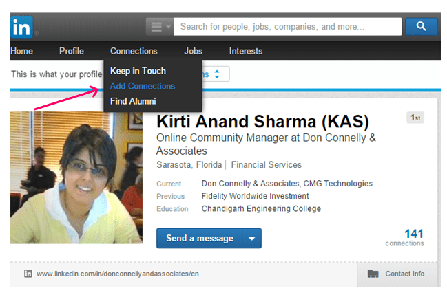 Add connections on LinkedIn through main navigation