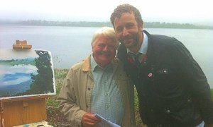 Don and Chris O'Dowd on the set of Moone Boy