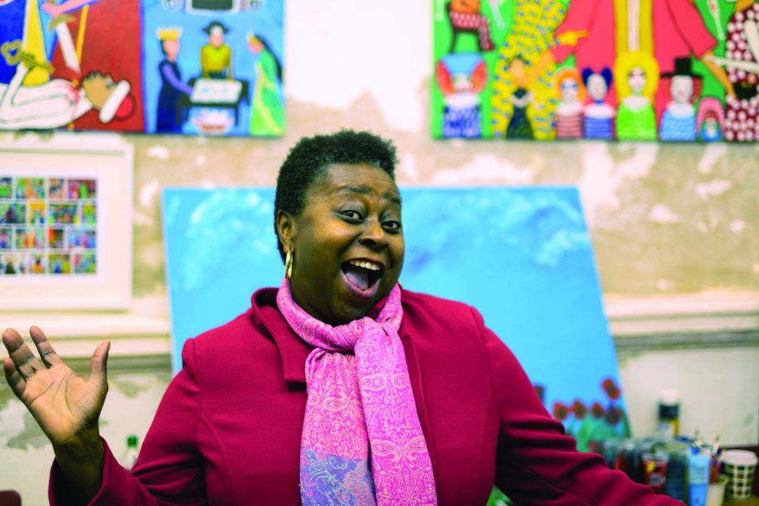 Artist Chinwe Russell at the Corn Exchange in Doncaster