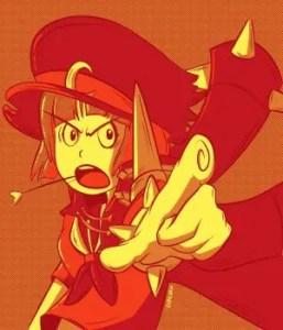 Mako in the Kill La Kill anime series, using a lot of red and orange colors!