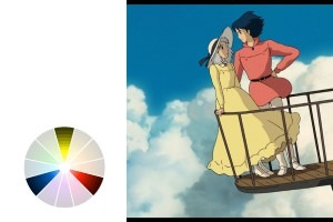 Studio Ghibli likes to use Triadic color schemes, here's an example in their movie Howl's Moving Castle