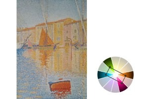 Tetradic Color schemes are great for setting up the composition. Here's Red Buoy by Paul Signac.