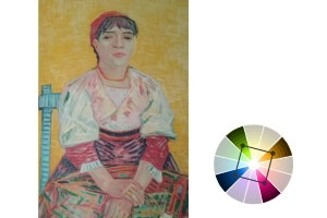 Square Tetradic Color Scheme example, The Italian Woman by Vincent van Gogh