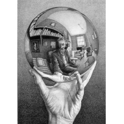 Hand with Reflecting Sphere by M.C. Escher, a completely amazing example of four point perspective, look at the details!