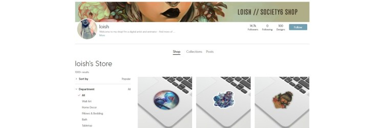 Loish is one successful artist that sells a lot of products on society6