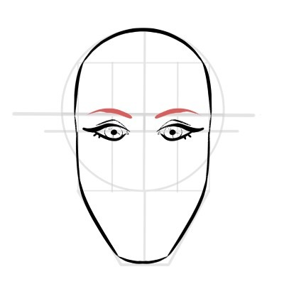Here's the position of the eyebrow in the face, just above the eye.