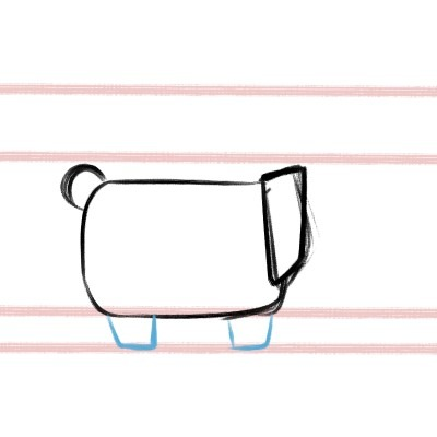 Time to draw the little feet! Draw some squares for your corgi drawing