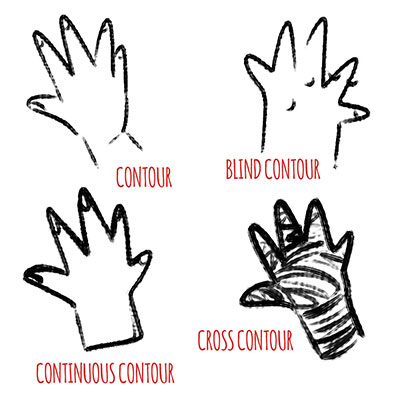 There are many types of contour drawing, here are a few that you can see!