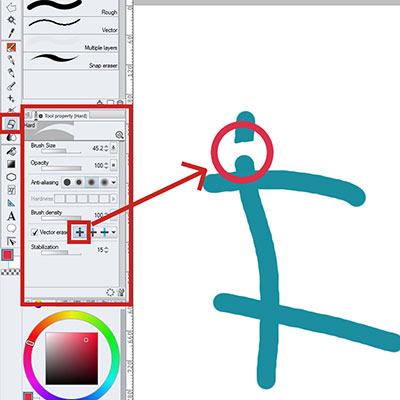Using the vector eraser in clip studio paint vector layers!