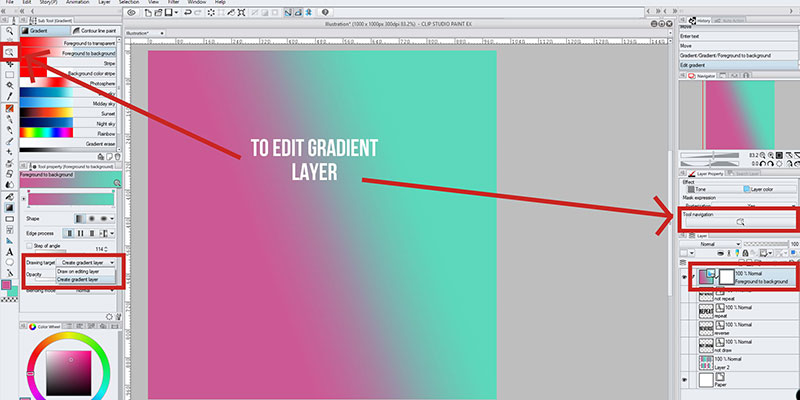 Here's how you can edit your gradient layer on clip studio paint