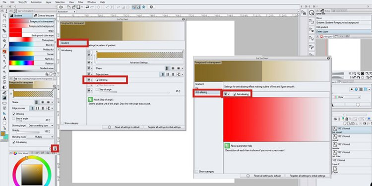 Here's how you change anti-aliasing and dithering of your gradient in clip studio paint.
